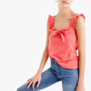 J.CREW Bow Top Embroidered Trim Tank
